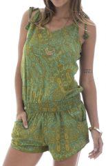 Combinaison courte verte avec motifs originaux et bretelles Sélénia 291864