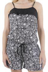 Combinaison noire et blanche aux imprimés fleurs Noumia 310914