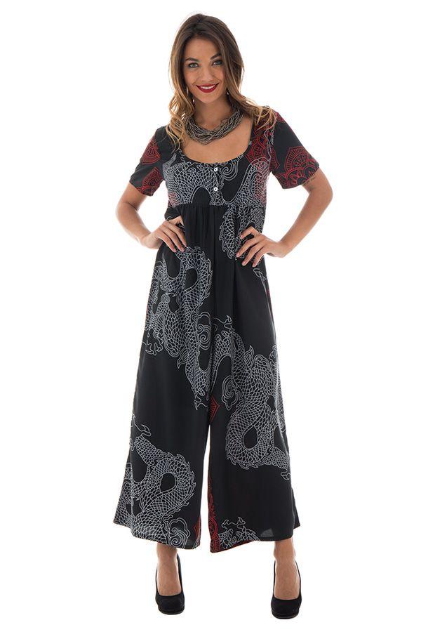 Combinaison pantalon ample avec col rond et manches courtes rouge et noire Cyprielle 289111