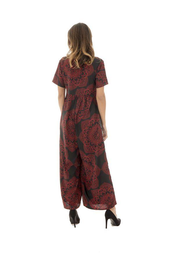 Combinaison pantalon ample avec col rond et manches courtes rouge et noire Cyprielle 289112