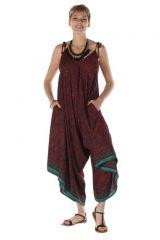 combinaison-pantalon asymétrique avec bretelles attachées aux épaules bordeaux Ephyr 288592