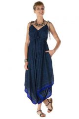 combinaison-pantalon asymétrique avec bretelles attachées et col V bleuté Liver 288594