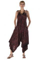 combinaison-pantalon asymétrique avec col V rouge vin Sheffield 288598