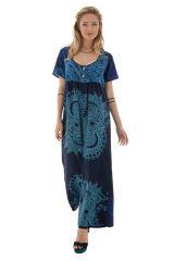 Combinaison pantalon avec col rond et manches courtes bleue Amalys 289107