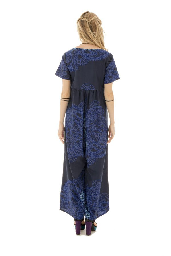 Combinaison pantalon avec col rond et manches courtes bleue Amalys 289108
