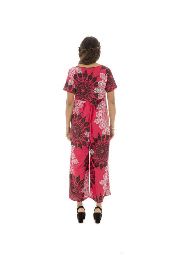 Combinaison pantalon avec joli col rond et manches courtes tricolore Eurielle 289116