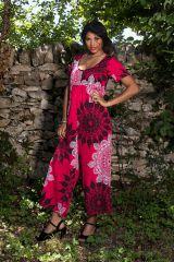 Combinaison pantalon avec joli col rond et manches courtes tricolore Eurielle 289117