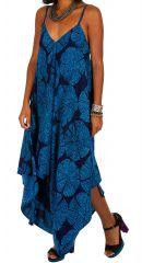 Combinaison pantalon bleue à pois de plage femme Diana