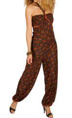 Combinaison-pantalon bouffant avec imprimés de style indien brun Bonnie 293262