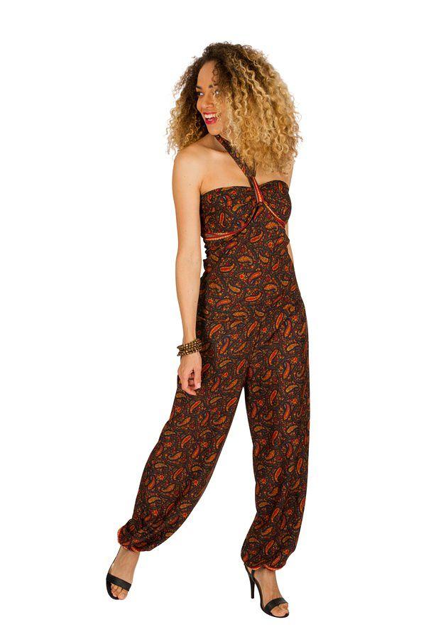 Combinaison-pantalon bouffant avec imprimés de style indien brun Bonnie 293263