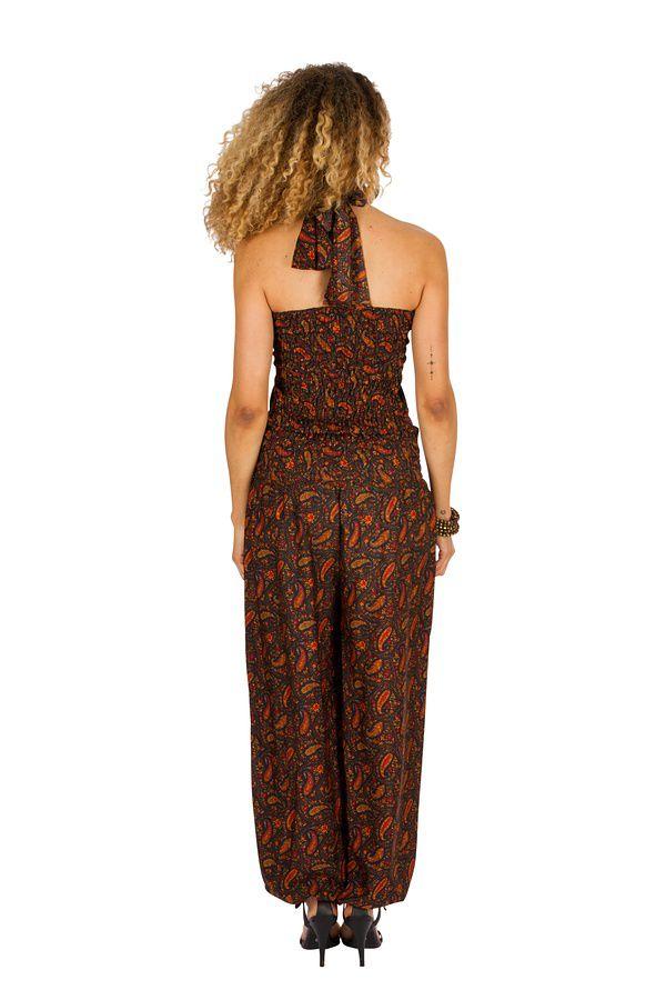 Combinaison-pantalon bouffant avec imprimés de style indien brun Bonnie 293264