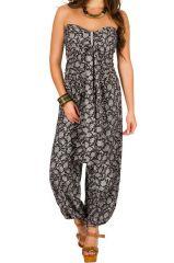 Combinaison-pantalon chic pourvue d'imprimé floral noir&blanc Flora 293058