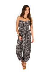Combinaison-pantalon chic pourvue d'imprimé floral noir&blanc Flora 293059