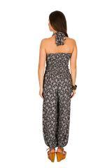 Combinaison-pantalon chic pourvue d'imprimé floral noir&blanc Flora 293060