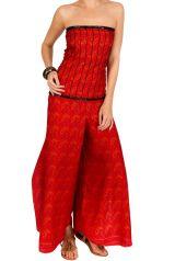 Combinaison-pantalon coupe ample smockée dans le dos rouge lisebeth 293487