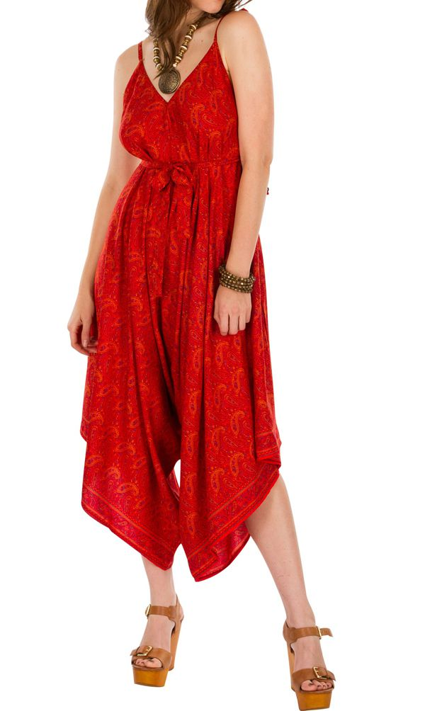 Combinaison-pantalon coupe asymétrique pourvue d'une ceinture rouge Erine 293439