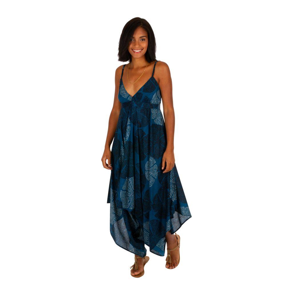 Combinaison pantalon femme à fines bretelles et un col en V décolleté Ania 306595