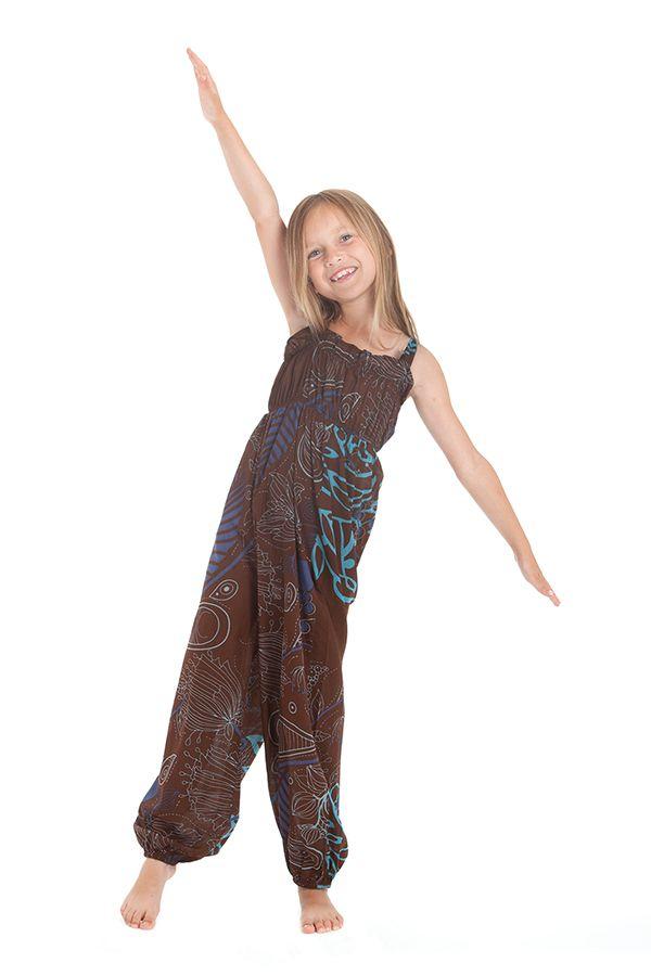 Combinaison pantalon Fille Ethnique et Imprimée Akela Marron et Bleue 279825