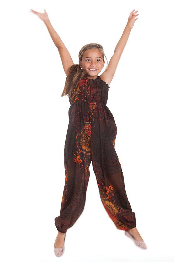 Combinaison pantalon Fille Ethnique et Imprimée Akela Marron et Orange 279821