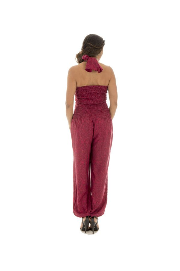 combinaison pantalon fluide bustier smocké fuchsia Honorine 289048