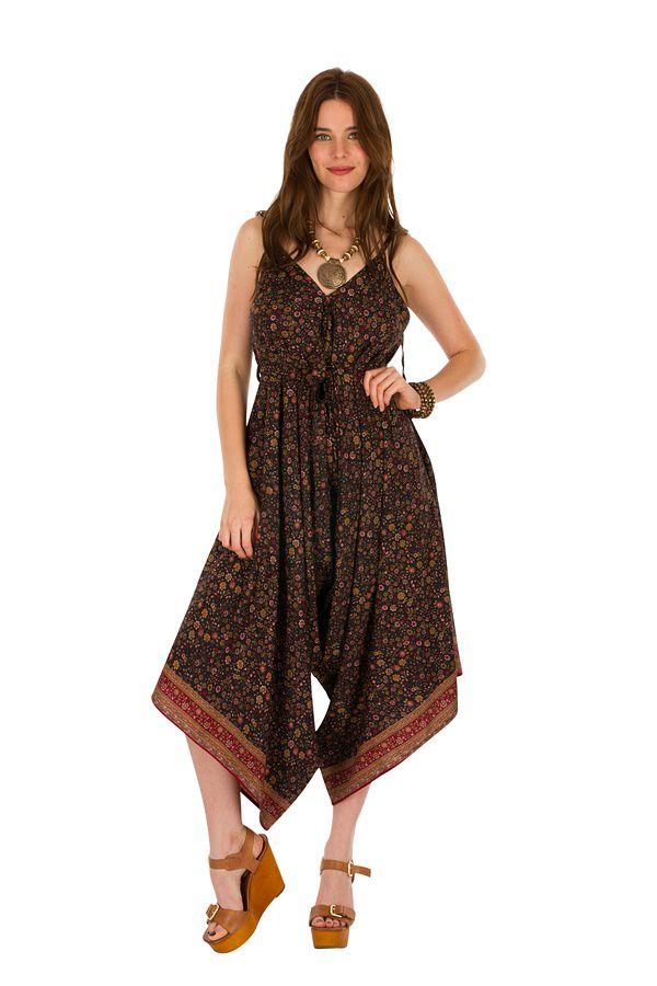 Combinaison-pantalon look bohème avec col en v Erine 293446