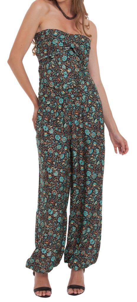 Combinaison-Pantalon Modulable et Ethnique Stalida Noire et Bleue 280848