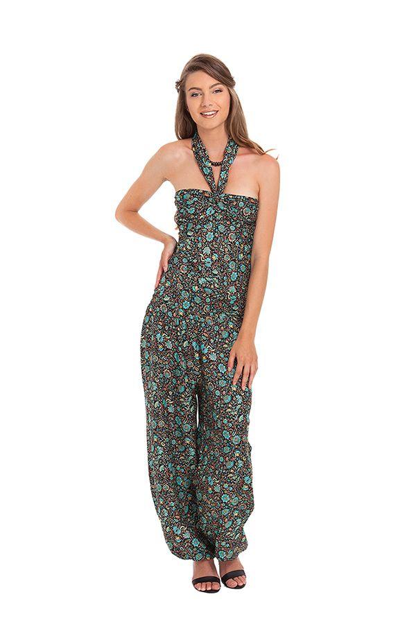Combinaison-Pantalon Modulable et Ethnique Stalida Noire et Bleue 280849