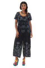 Combinaison pantalon noire et blanche avec col rond et manches courtes Tala 289123