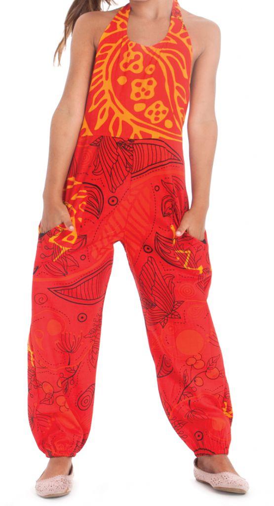 Combinaison Pantalon pour Fillette Originale et Colorée Arlo Orange 279810