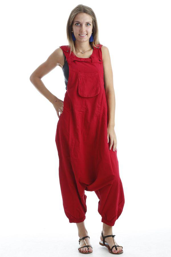 Combinaison-pantalon salopette fourche basse Rouge Marcella 302566