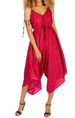 Combinaison-pantalon séduisante a fines bretelles réglables rose Erine 293451