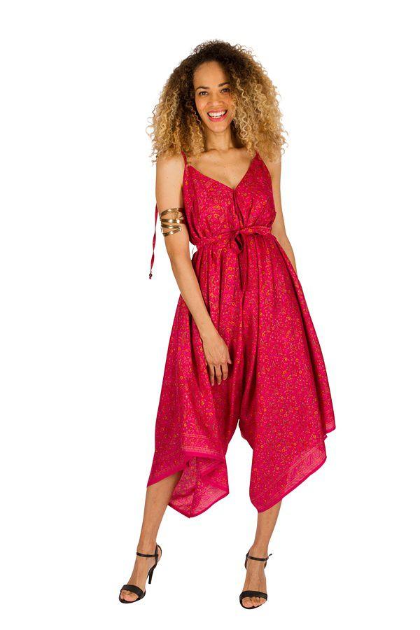 Combinaison-pantalon séduisante a fines bretelles réglables rose Erine 293452