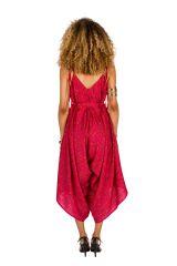 Combinaison-pantalon séduisante a fines bretelles réglables rose Erine 293453