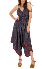 Combinaison-pantalon style romantique et imprimés violet Erine 293475