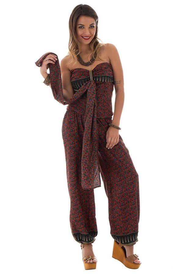 combinaison pantalon surprenante avec lien à nouer ou laché et motifs ethniques bordeaux Pimprenelle 289065