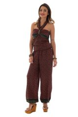 combinaison pantalon surprenante avec lien à nouer ou laché et motifs ethniques bordeaux Pimprenelle 289066