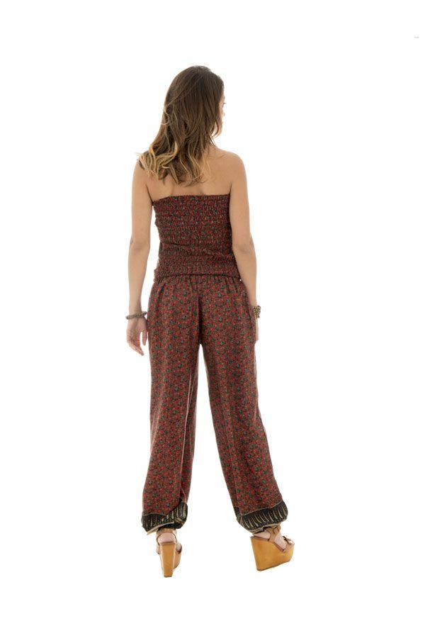 combinaison pantalon surprenante avec lien à nouer ou laché et motifs ethniques bordeaux Pimprenelle 289067