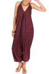 Combinaison-sarouel agréable à porter avec dos-nu violet Zaly 292797