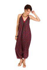 Combinaison-sarouel agréable à porter avec dos-nu violet Zaly 292813