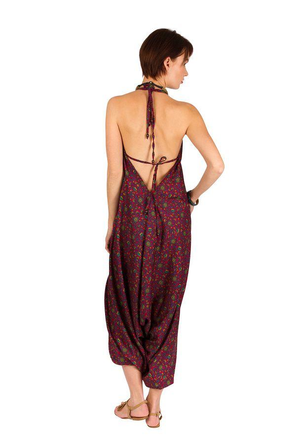 Combinaison-sarouel agréable à porter avec dos-nu violet Zaly 292814