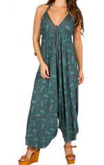 Combinaison-sarouel atypique avec imprimés ethniques et dos nu bleue Zaly 292750