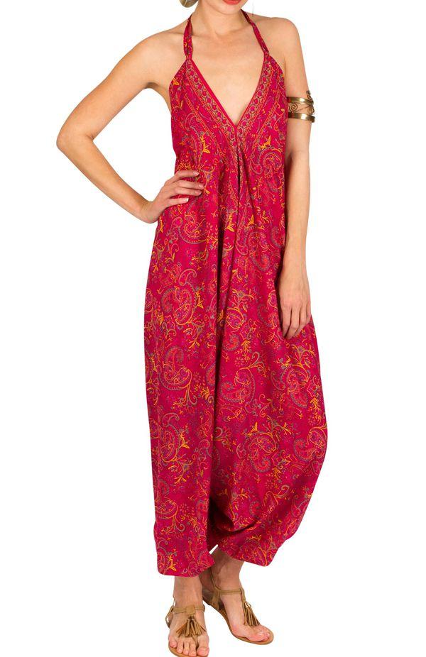 Combinaison-sarouel colorée avec imprimés et dos nu fuchsia Savana 292773