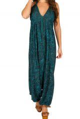 Combinaison-sarouel confortable avec un col en v et un dos nu bleue Cerise 292612