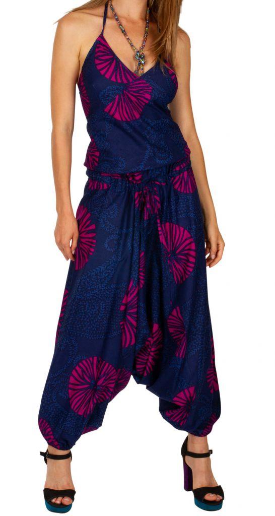 Combinaison sarouel ethnique à fines brettelles en coton léger Shana 306016
