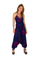 Combinaison sarouel ethnique à fines brettelles en coton léger Shana 306017