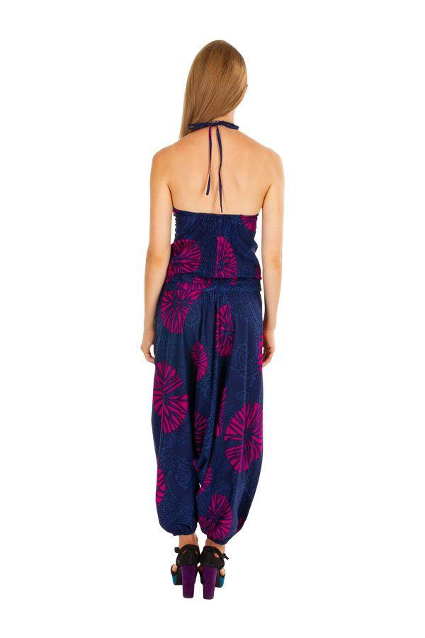 Combinaison sarouel ethnique à fines brettelles en coton léger Shana 306018