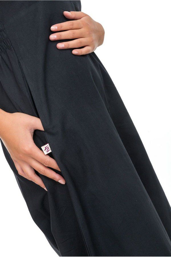 Combinaison sarouel ethnique original pour femme noir uni Kamail 303140