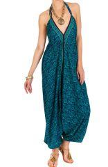 Combinaison-sarouel féminine avec un dos-nu et imprimés fantaisies bleue Foxy 292834