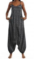 Combinaison sarouel grise à fines bretelles pour un look décontracté Ruline 305588