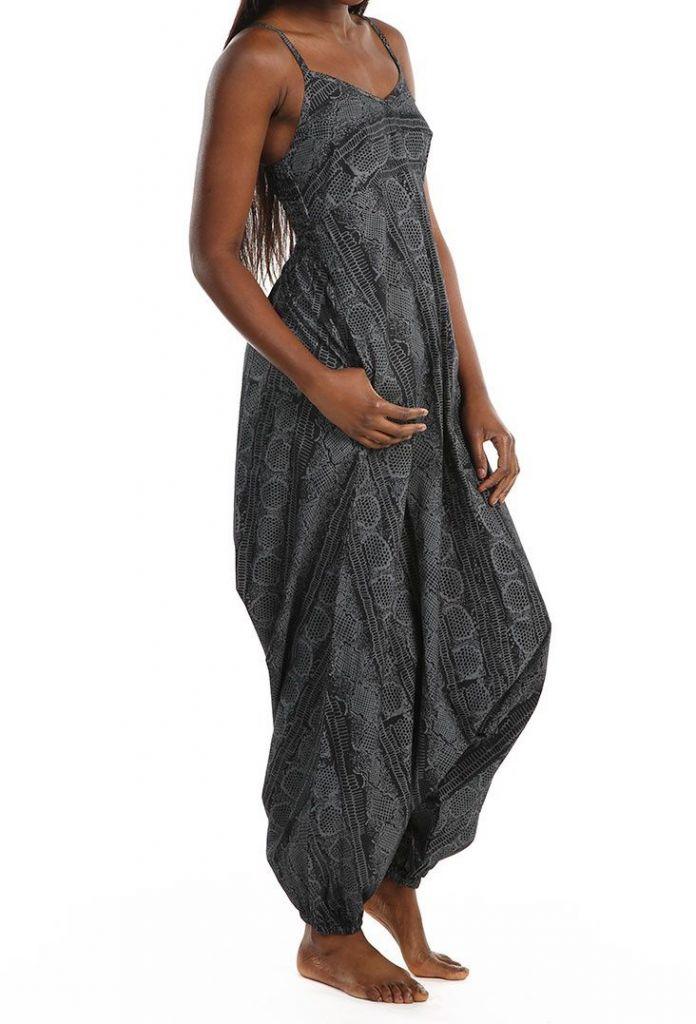 Combinaison sarouel grise à fines bretelles pour un look décontracté Ruline 305589